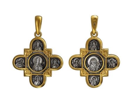 Крест нательный Господь Вседержитель. Казанская и восемь святых