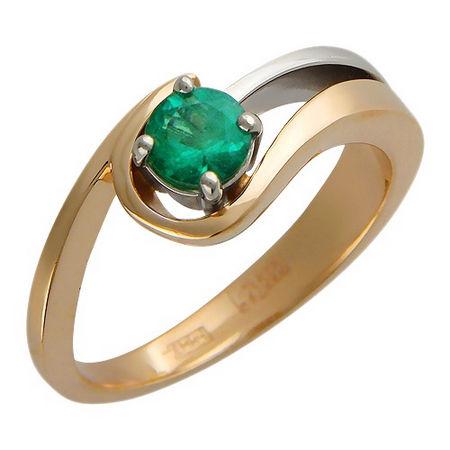 Кольцо с сапфиром из бело-красного золота