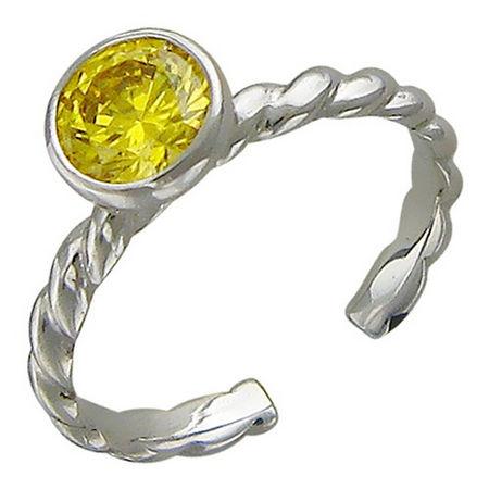Кольцо с цветным фианитом из белого золота