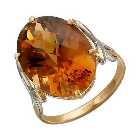 Кольцо с раух-топазом из бело-красного золота