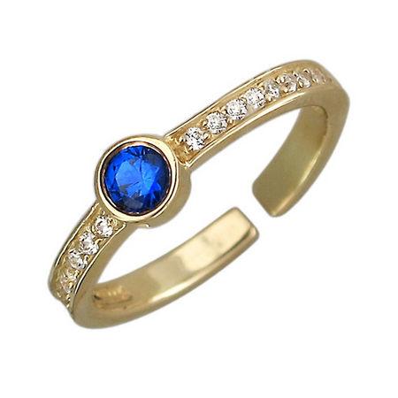 Кольцо с фианитом из желтого золота