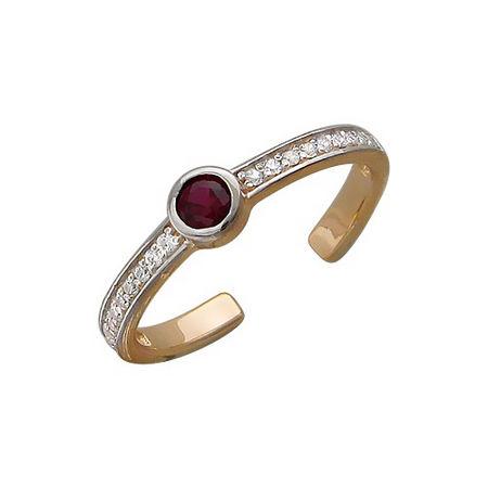 Кольцо с синтетическим рубином из красного золота