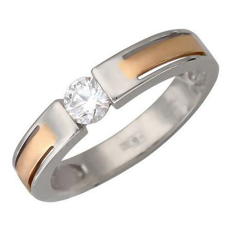 Кольцо с бриллиантом из бело-красного золота