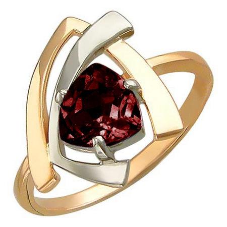 Кольцо с гранатом из бело-красного золота