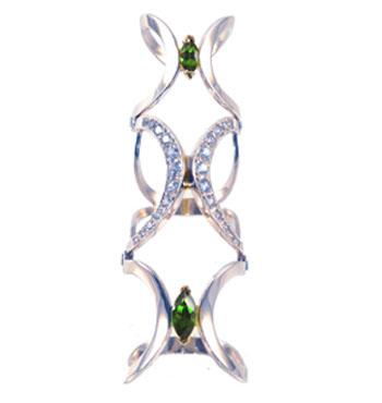 Серебряное кольцо на две фаланги Узор Утум K151