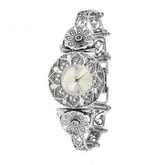 Серебряные часы Yaffo с аметистом 01-SAW508R
