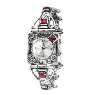 Серебряные часы Yaffo с гранатом 01-SAW627