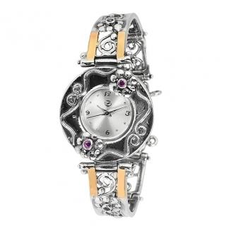 Серебряные часы Yaffo с аметистом и золотом 01-SAW628