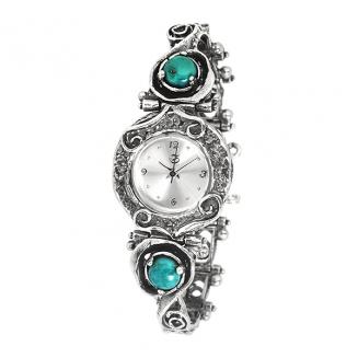 Серебряные часы Yaffo с бирюзой 01-SAW633
