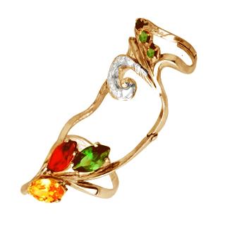 Золотое кольцо Узор Утум с фианитами K142G