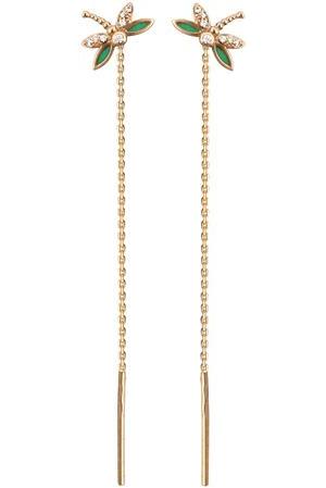 Серьги продевки из золота с фианитами и эмалью в виде стрекозы 01С116479Э