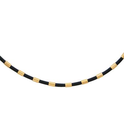 Колье-шнурок каучуковый с золотом 0РЛ010495