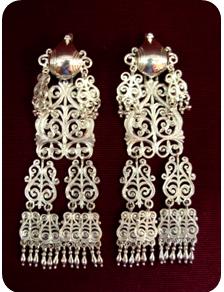 Серебряные якутские серьги Узор Утум CH029
