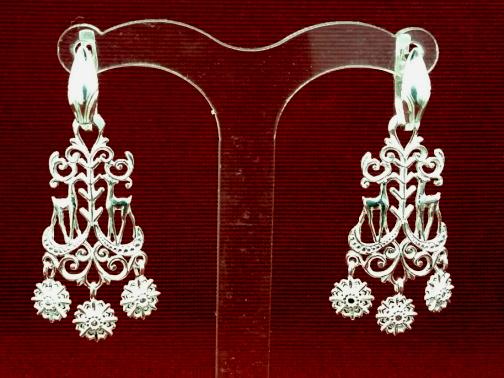 Серебряные якутские серьги Узор Утум CH151