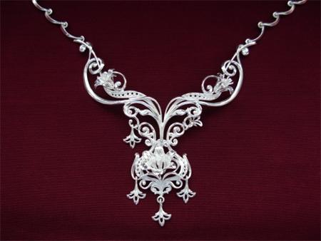 Серебряное якутское колье Узор Утум L049