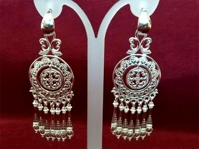 Серебряные якутские серьги Узор Утум CH190