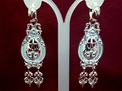 Серебряные якутские серьги Узор Утум CH195