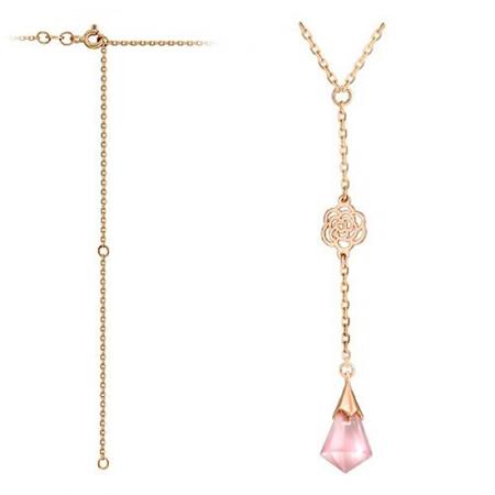 Золотое колье с розовым кварцем 01Л311154-2