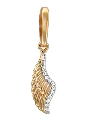 Золотая подвеска Крылья с бриллиантами 01П617424