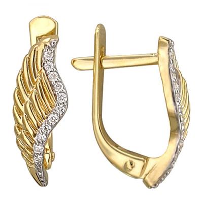 Золотые серьги Крылья с бриллиантами 01С637424