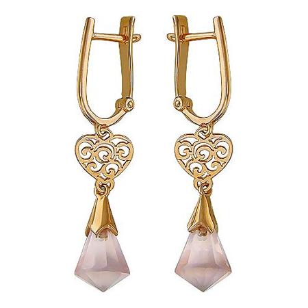 Золотые серьги с розовым кварцем 01С317898
