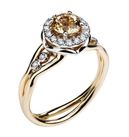 Золотое кольцо с бриллиантами 01К669683Ж