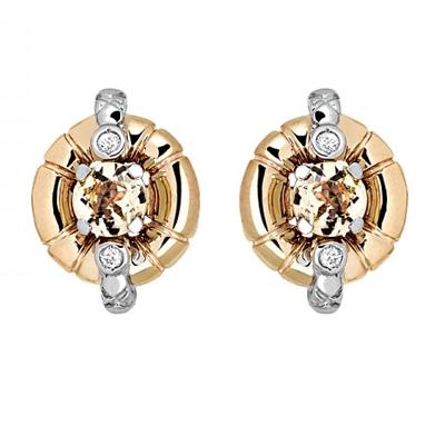 Золотые серьги с бриллиантами 01С669682Ж