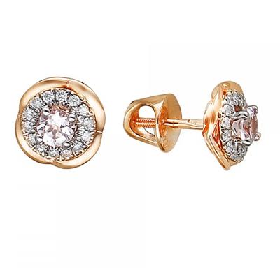 Золотые серьги с бриллиантами 01С669683-1