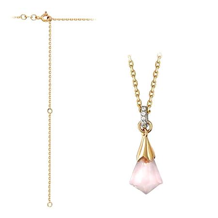 Золотое колье с розовым кварцем и празиолитом 01Л311161-1