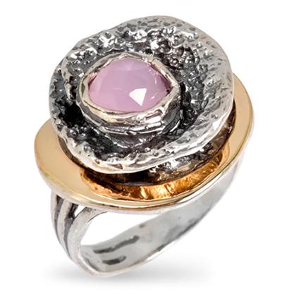 Серебряное кольцо Yaffo c розовым кварцем SAR672cab