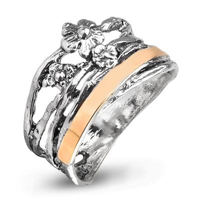 Серебряное кольцо Yaffo с золотом SAR958