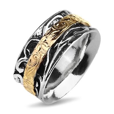 Серебряное кольцо Yaffo с золотом TZR454