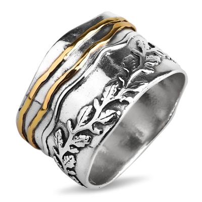 еребряное кольцо Yaffo с золотом TZR453