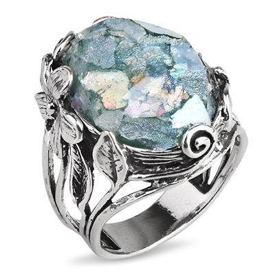 Серебряное кольцо Yaffo с романским стеклом TZR369