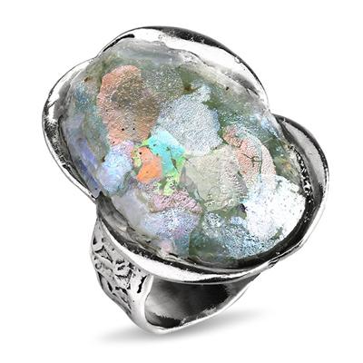 Серебряное кольцо Yaffo с романским стеклом TZR358
