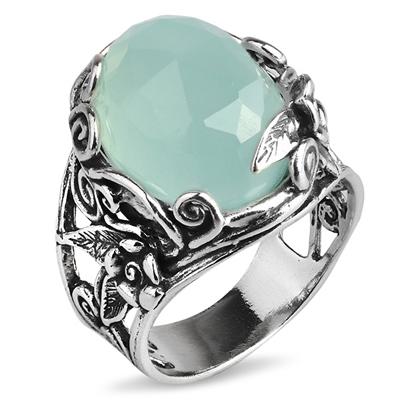 Серебряное кольцо Yaffo с мятным кварцем TZR196