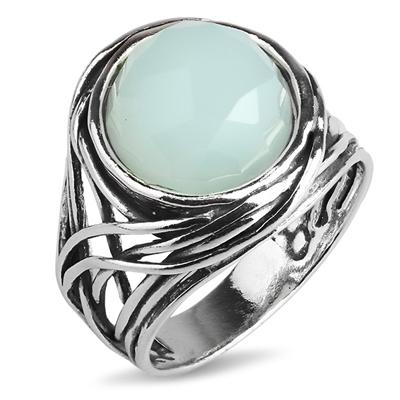 Серебряное кольцо Yaffo с мятным кварцем TZR192