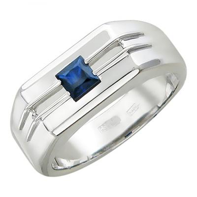 Мужское кольцо из белого золота с сапфиром 01Т523559
