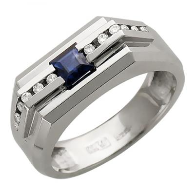Мужское кольцо из белого золота с сапфиром 01Т673845