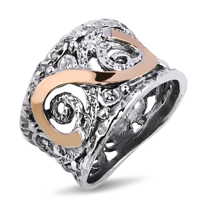 Серебряное кольцо Yaffo с золотом SAR1093
