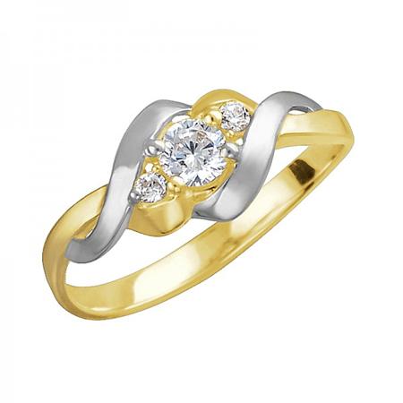Золотое кольцо с фианитами 01К1312308Р