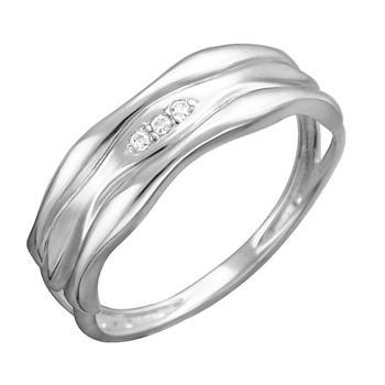 Кольцо из белого золота с фианитами 01К1212328