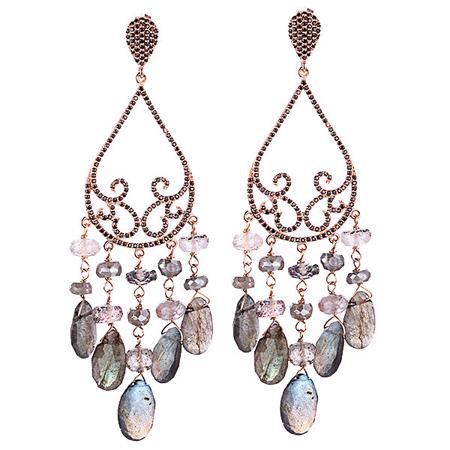 Серебряные серьги с самоцветами M0000231405