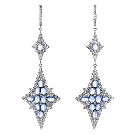 Серебряные серьги с самоцветами M0000230641