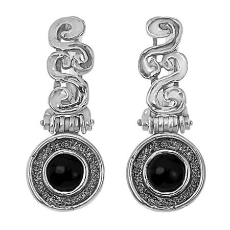 Серебряные серьги Yaffo с черным ониксом SAE1482