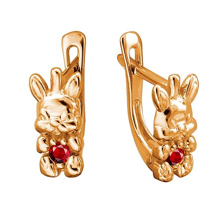 Золотые серьги с рубином 01С2111663-1