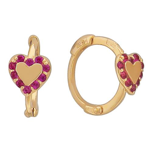 Золотые серьги с корунд рубином 01С214827-4