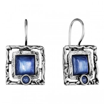 Серебряные серьги Deno с кианитом 01E246/1KT
