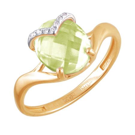 Кольцо золотое с кварцем 01К3110853-9