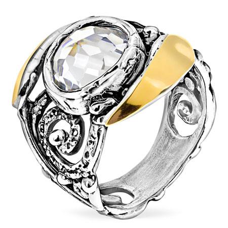 Серебряное кольцо Yaffo с фианитом и золотом SAR1141CZ